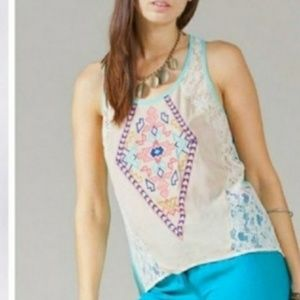 Nordstrom Tank top shirt TRIBAL aztec lace BOHO